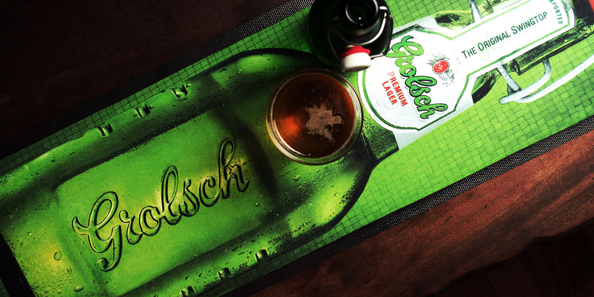 Ad-Mat Premium - custom bar runner advertising Grolsch beer