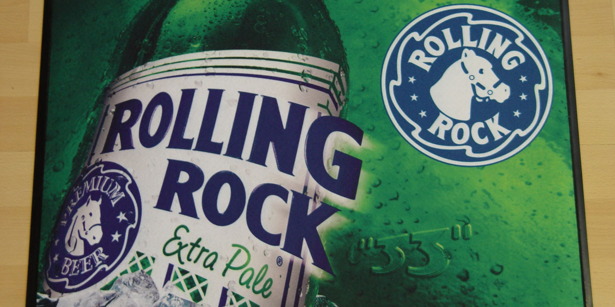 Ad-Mat Premium - beer mat promoting Rolling Rock extra pale lager