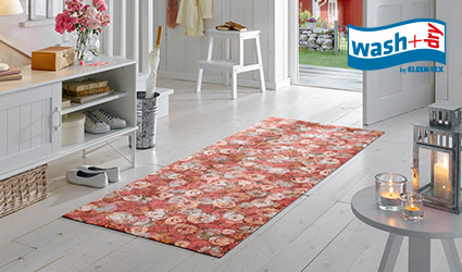 wash+dry Decor mat with pink flower pattern