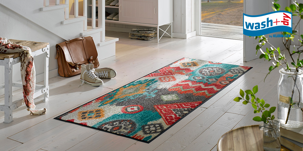 wash+dry Design mat with modern ethnic pattern in living area
