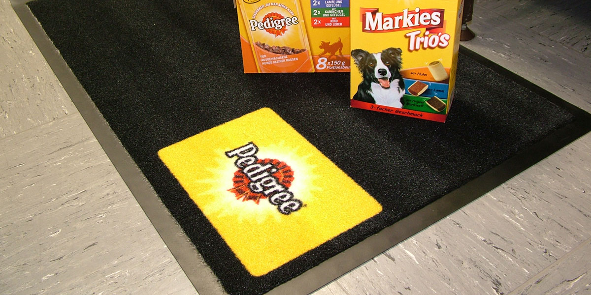 Patio - custom mat with printed Pedigree logo (Mars Inc) promoting pet food